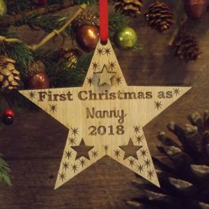 First Christmas as Nanny Nanna Auntie Personalised Star Decoration Gift